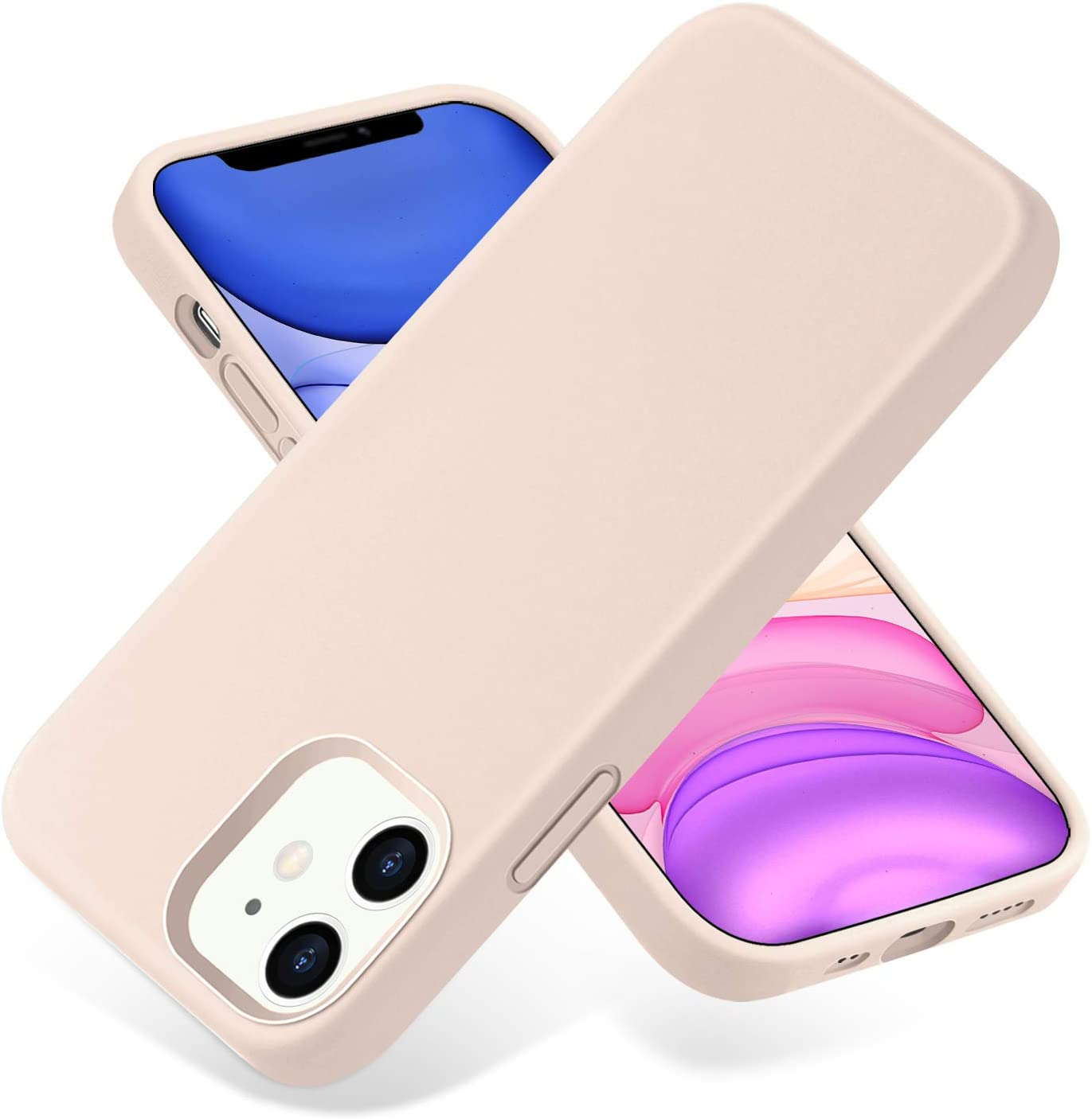 SNBLK Compatible with iPhone 12 Case/Compatible with iPhone 12 Pro Case Liquid Silicone 6.1 Inch (2020),Soft Thick Protective Rubber Cell Phone Basic Cases Covers for Women Men Girls Boys,Sand Pink