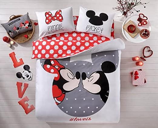 100 Cotton Comforter Set 5 Pcs Full Queen Size Disney Minnie Loves Kisses Mickey Mouse Heart Theme Bedding Linens Quilt Doona Cover Sheets Comforter Amazon Ca Home Kitchen