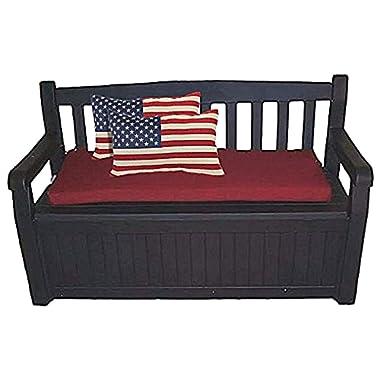 60 Gal. Outdoor Garden Patio Deck Box Storage Bench Loveseat Farmhouse Waterproof Armrest Lockable & eBook