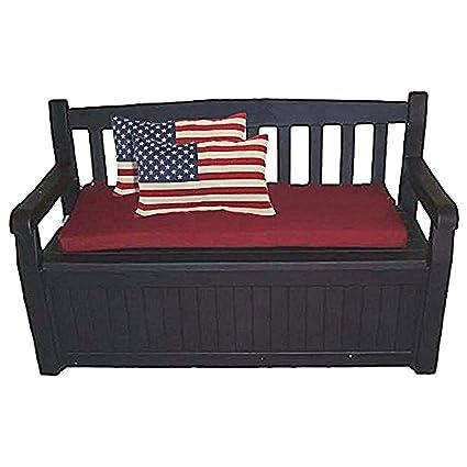 60 Gal. Outdoor Garden Patio Deck Box Storage Bench Loveseat Farmhouse  Waterproof Armrest Lockable U0026
