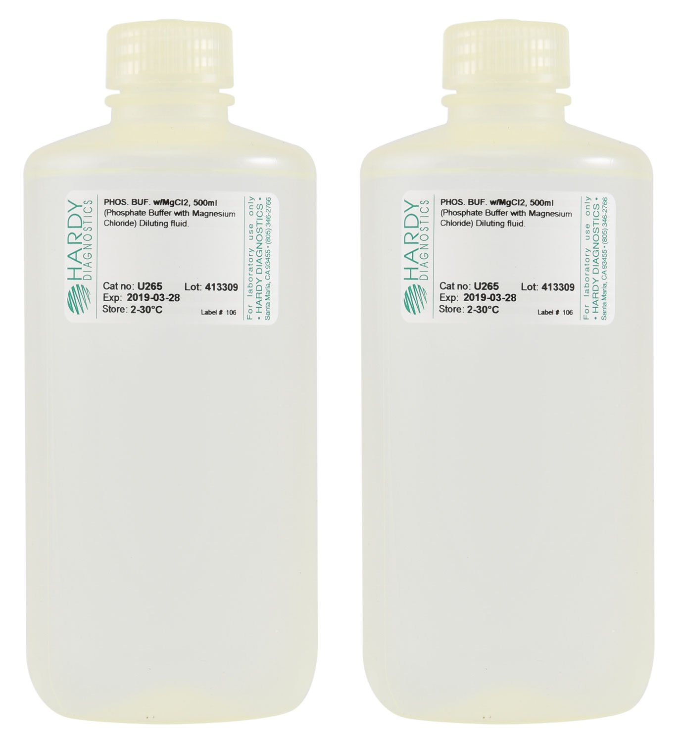Difusor de fosfato con cloro de magnesio, 500 ml, relleno en una botella de polipropileno de 500 ml, pedido por el paquete de 10, por Hardy Diagnostics: ...