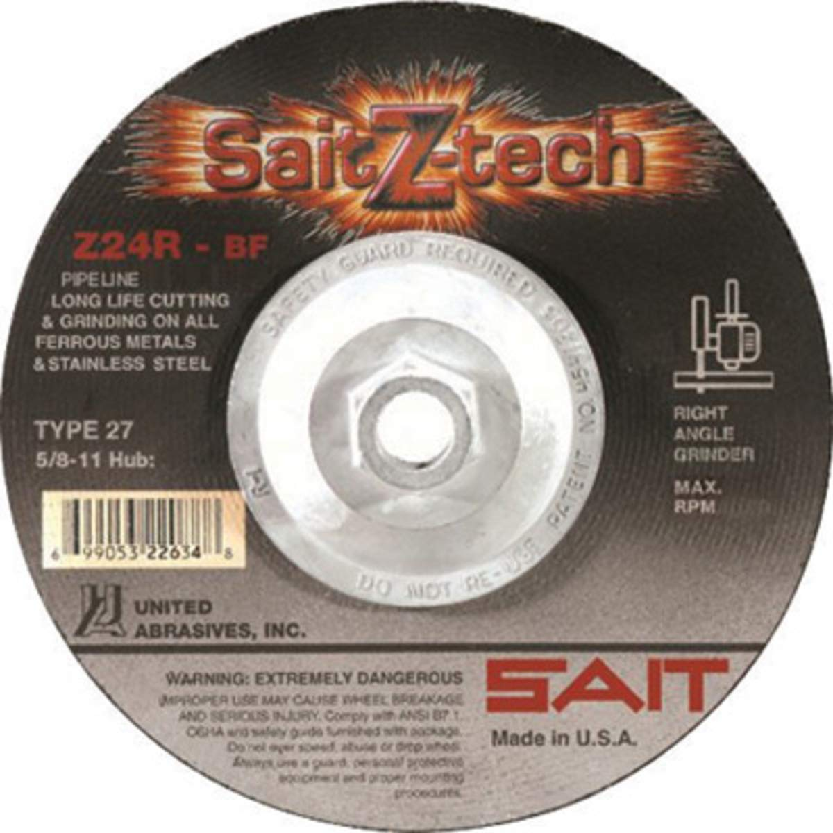 United Abrasives 4 1/2'' X 1/8'' X 5/8'' - 11 SaitZ-tech Zirconium Type 27 Cut Off Wheel, 10 Each