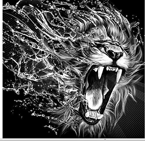 GIZIGI DIY 5D ダイヤモンドペインティング クロスステッチ フルダイヤモンド 刺繍 ライオン モザイク ペースト ペインティング ブラック&ホワイト 動物 ポートレート 40X50 cm フレームなし B07P9RV4TR