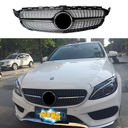 Amg Package - Diamond radiator front grill for Mercedes C class W205 C300 C250 black 2015+ AMG package no camera(not for real C63)