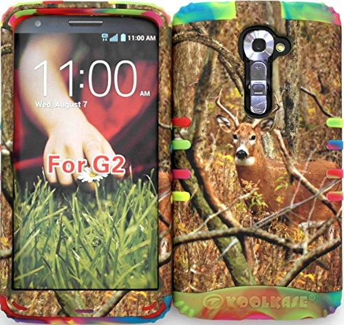 Wireless Fones TM High Impact Hybrid Rocker Case for LG G2 VS980 (Verizon only) Mossy Camouflage Real Deer on Rainbow Silicone (Case Phone Vs980 G2 Verizon Lg)