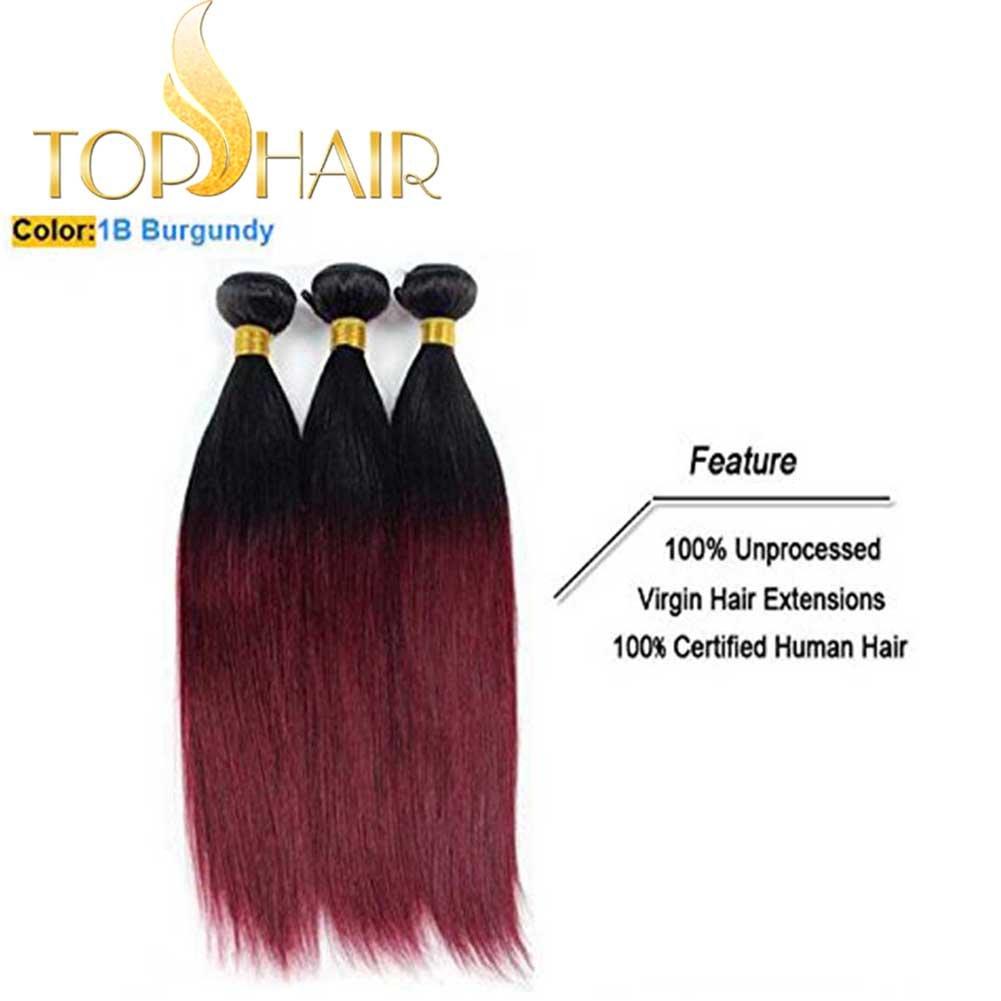 Amazon Top Hair Peruvian Ombre Burgundy Hair Extensions Black