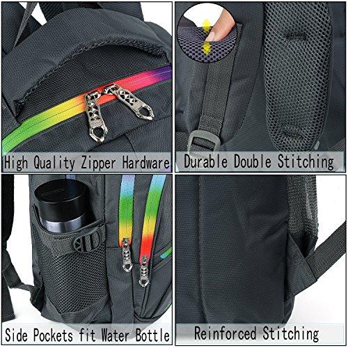 UTO Backpack Nylon Child Teenager Rucksack Primary Junior School Bookbag 520 Grey by UTO (Image #2)