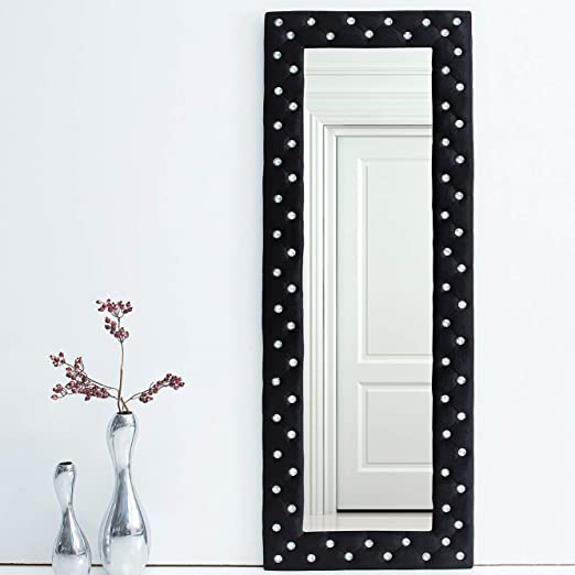 CAGÜ: Espejo de Pared XL romántico [Joesphina] Negro de Terciopelo con Piedras de estrás en diseño de Barroco 170 cm x 60 cm (Vertical o Horizontal).: Amazon.es: Juguetes y juegos