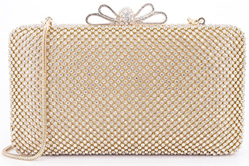 Dexmay Bling Rhinestone Crystal Clutch Purse Bow Clasp Women Evening Bag for Bridesmaid Wedding Party Gold