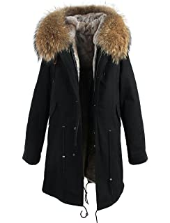 16f83ce97d08b Melody Women s Large Raccoon Fur Collar Hooded Coat Parkas Detachable  Lining Winter Long Jacket