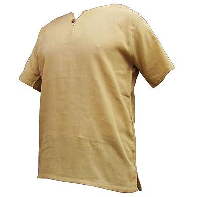 PANASIAM Sommerhemd, K', mit Knopf, beige, M, kurzarm