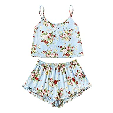 a93d6a2be3a2 Amazon.com  Handyulong Clearance Women Rompers Casual Floral Print Cami  Shorts Two Piece Outfits Playsuit Jumpsuits for Teen Girls  Clothing