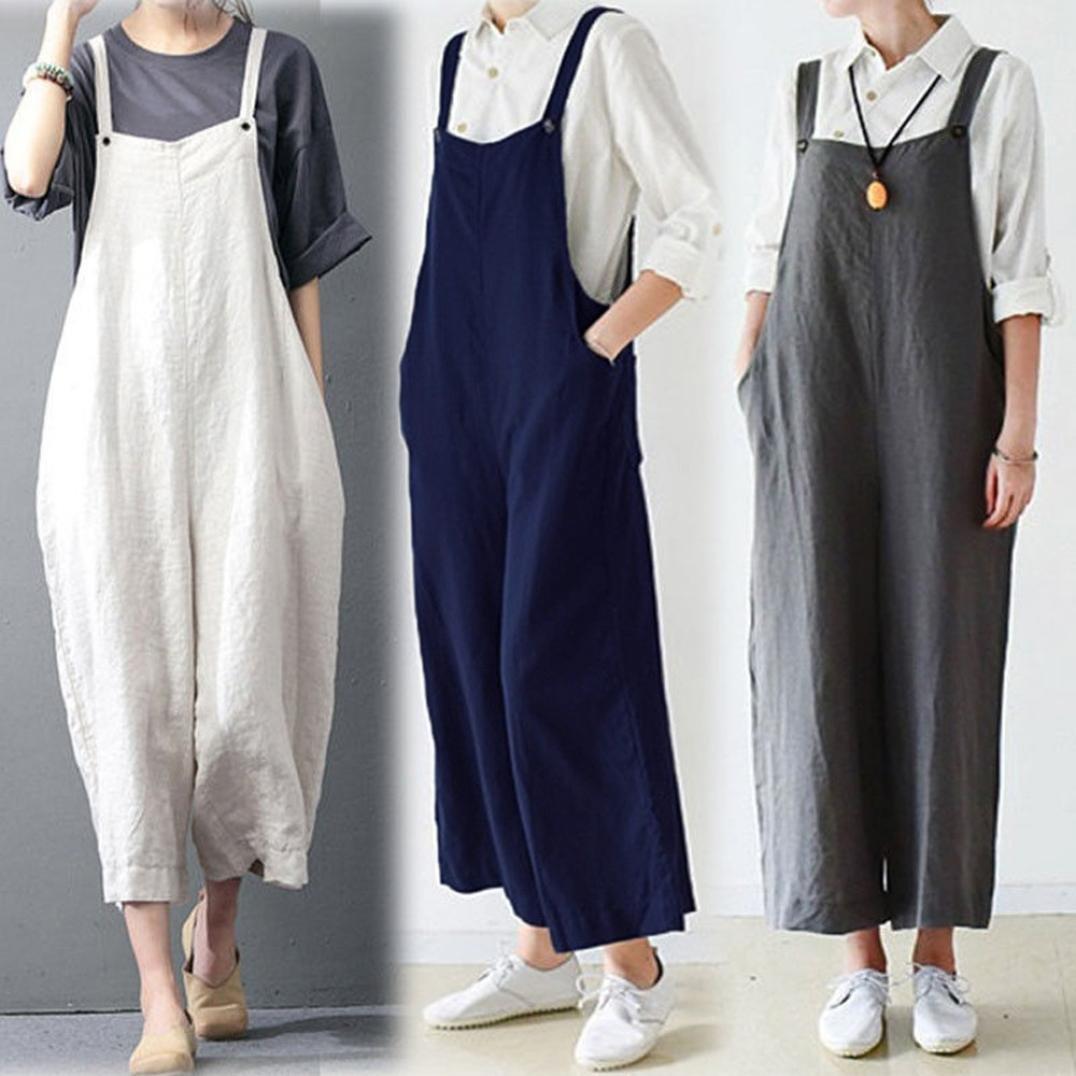 70c60ea872c8 Amazon.com  Clearance Wide Leg Jumpsuit Cotton Cargo Pants Bib Overalls  Dungaree Trousers Romper Jushye (L