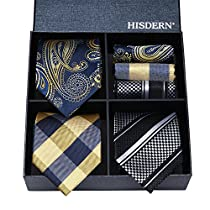 HISDERN Lot 3 PCS Classic Mens Silk Tie Set Necktie & Pocket Square - Multiple Sets