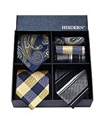 HISDERN Lot 3 PCS Classic Men's Silk Tie Set Necktie & Pocket Square - Multiple Sets