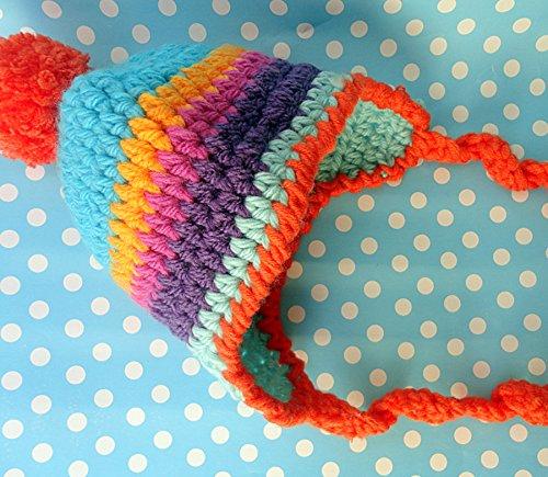 Baby Kids Rainbow Hat with Pompom (Beanie Nike Wool)
