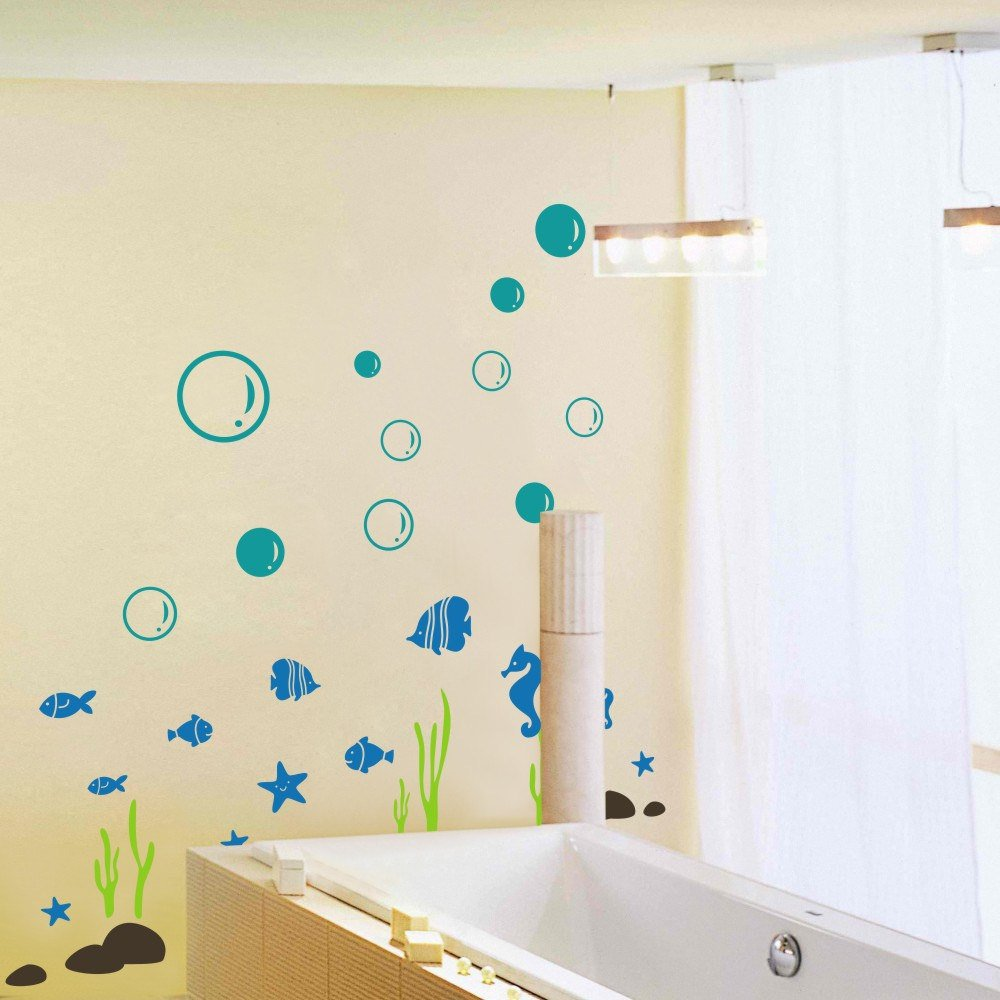 GECKOO Animal Decal Sea Buble Sticker Starfish Seahorse Seaweed Fish Set Bathroom Vinyl Kids Wall Mural( Medium, A:Bubles- Brown£»Fishes,Starfish,Sea horses- Dark Red£»Seaweed- Dark Green£»Stone- Black ) MairGwall