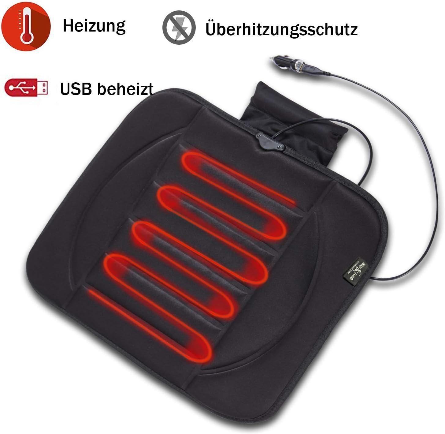 Schwarz USB Heizauflagen Heizbare Sitzbezug 12V Beheizbare Autositzbez/üge Beheizbare Sitzkissen passt meistem Auto auch Zuhause B/üro Stuhl im Winter Big Hippo Beheizbare Sitzauflage Auto