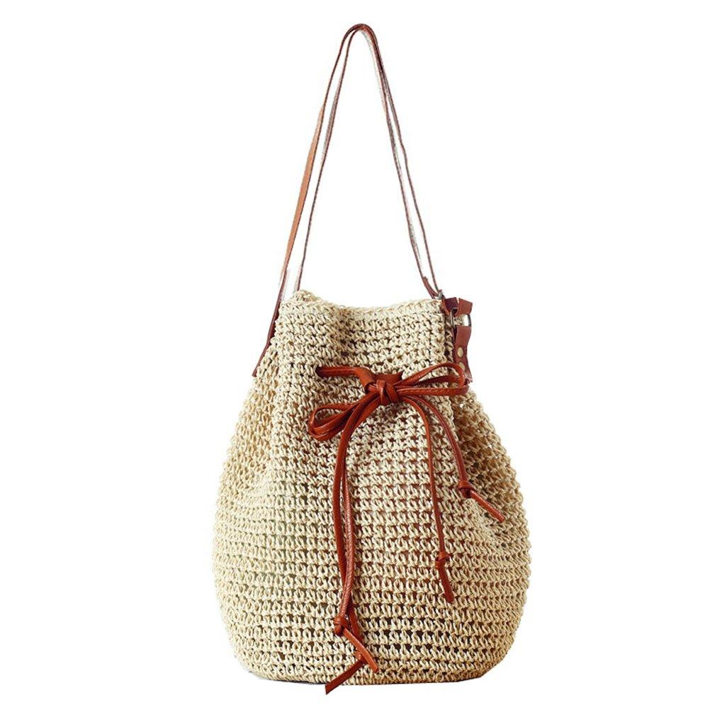 Donalworld Women Bucket Bag Drawstring Hobo Crochet Straw Shoulder Bag L Beige by Donalworld