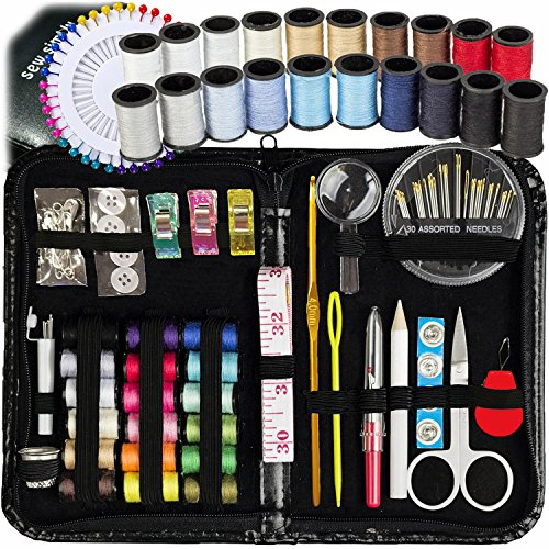: SEWING KIT, Over 130 DIY Premium Sewing Supplies, Mini sewing kit, 38 Spools of Thread - 20 Most Useful Colors & 18 Multi Colors, Extra 40 quality sewing pins, Travel, kids, Beginners