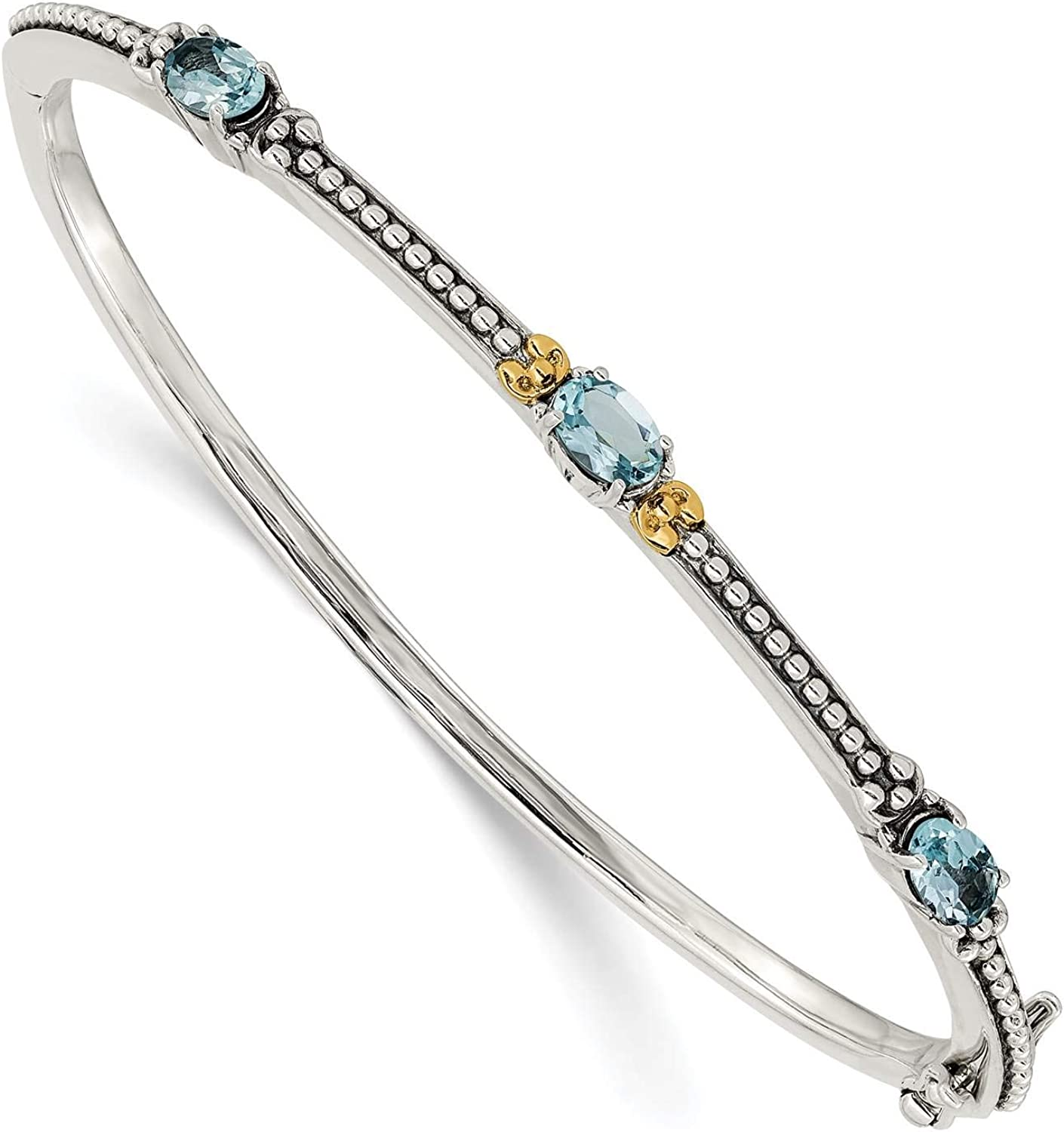 925 Sterling Silver w//14k Gold Accent Polished /& Antiqud Sky Blue Topaz Bangle Bracelet by Shey Couture
