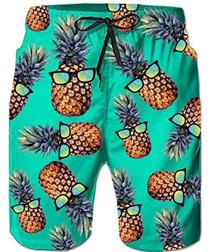Loveternal Mens Beach Shorts Plus Size Swimming Trunks Male Casual Elastic Waist Funny Green Bathing Suit Tropical Surf Swim Shorts Bright Colored Hawaiian Boardshorts XL (Mens Swim Big Hawaiian Trunks)
