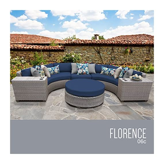 TK Classics FLORENCE-06c-NAVY 6 Piece Outdoor Wicker Patio Furniture Set, Navy - Thick cushions for a luxurious look and feel Cushion covers - washable and zippered for easy cleaning (air dry Only) Feet Levelers - Height adjusters for uneven surfaces that won't mar your patio or deck - patio-furniture, patio, conversation-sets - 61KoxIUxeXL. SS570  -