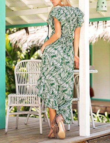 Stampa Per Casual Hem Flower Dress Boho Summer Verde Style Donna Maxi T Ruffle Abiti Vestito seban Aw0Fg