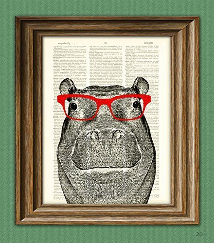 Hippopotamus Smarty Pants Hippo with red glasses illustration beautifully upcycled dictionary page book art print