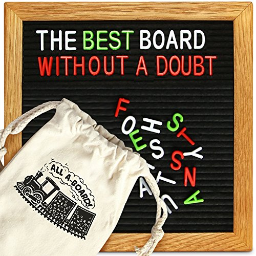 Changeable Black Felt Letter Board with stand and hanger 10x10, includes 656 letters and emojis: classic white plus vibrant red and green for emphasis, featuring bonus storage bags by All A-Board