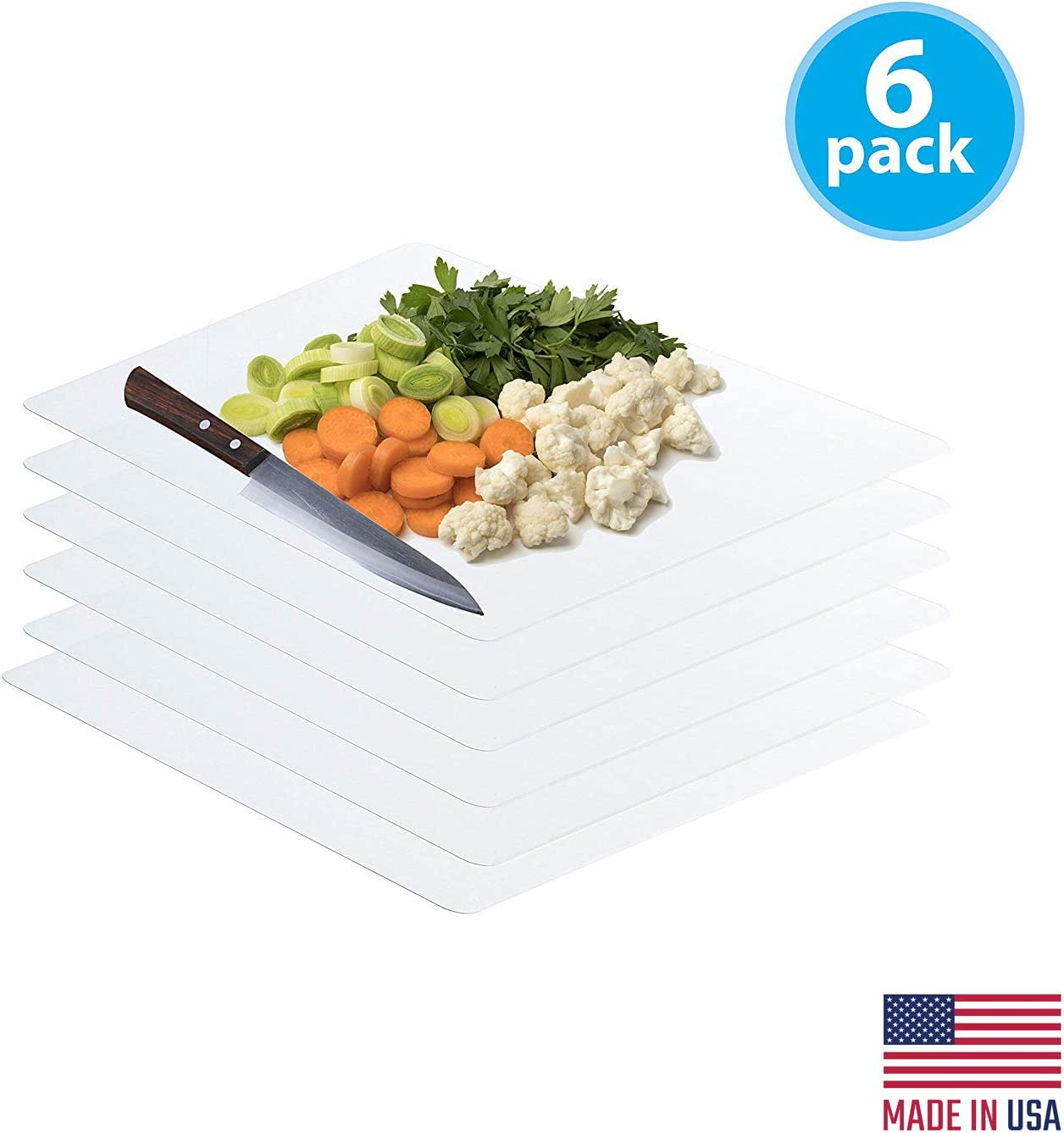 Frosted Clear Flexible Extra Thick Plastic Cutting Board Mat (12 x 15), Set of 6 by Sterling for Life