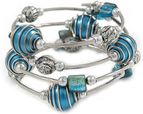 Silver Tone Beaded Multistrand Flex Bracelet White