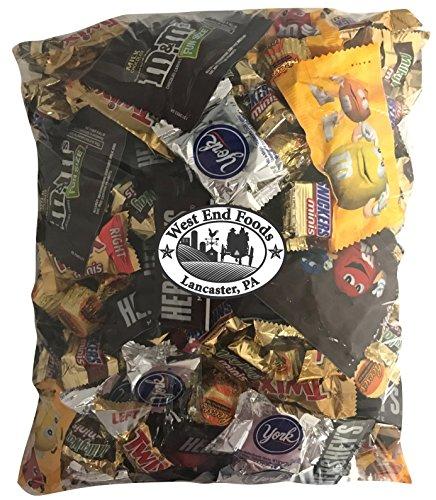 Chocolate Candy Assorted (8 Pounds) Snickers Bar, M&Ms Milk, Peanuts, Milky Way, Twix, Hershey, York Mini Size Bulk Snacks for Halloween