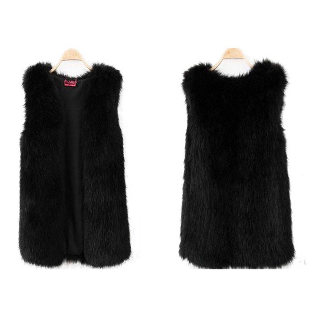 Vogholic Women's Fashion Faux Fur Vest Sleeveless Coat Waistcoat