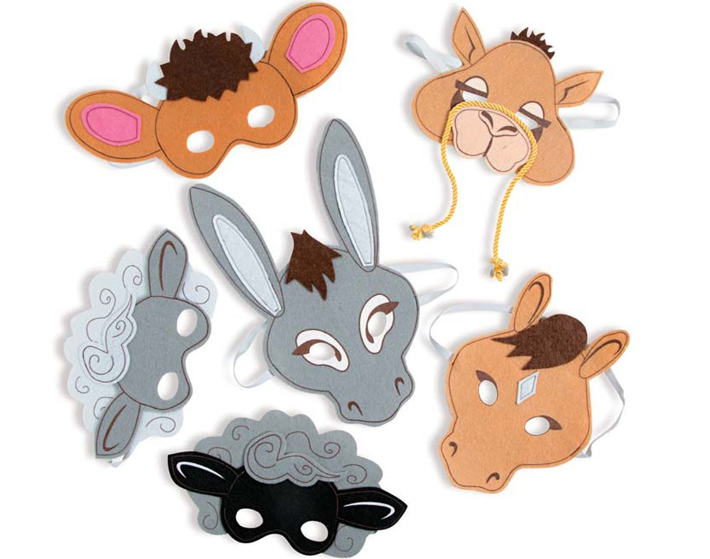 6 Christian Nativity Animal Felt Masks for Kids | Costume Party Masks Crafty Capers