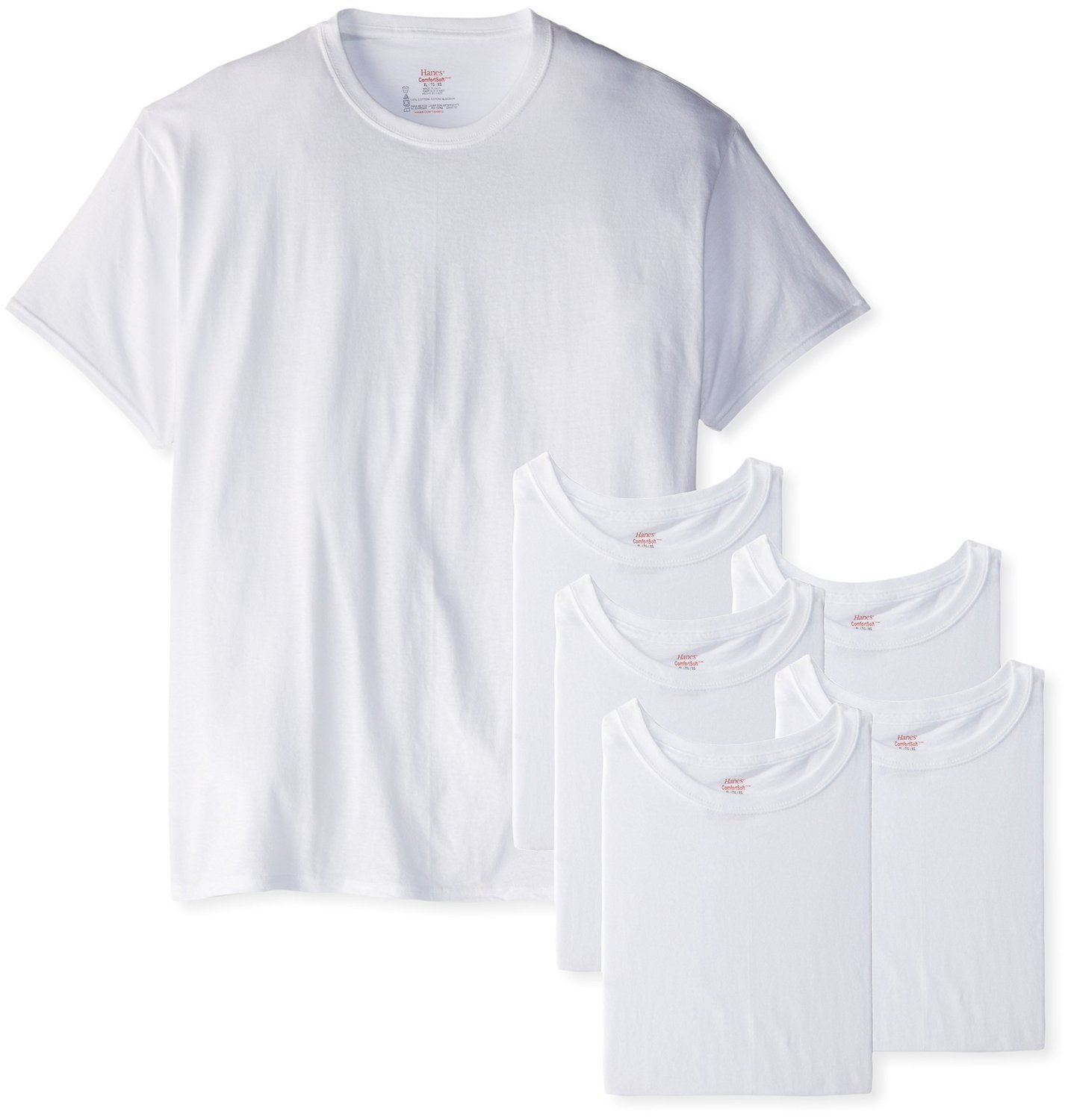 Hanes Men's Classics 6 Pack Crew Neck Tee (4X-Large Tall Man, White) by Hanes