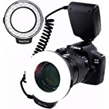 SAMTIAN RF-550D 48 Marco LED Flash Ring Light for Canon, Nikon, Panasonic, Olympus, Pentax SLR Cameras (will Fit 49, 52, 55, 58, 62, 67, 72, 77m Lenses) 4 Diffusers Colmor(Clear, Warming, Blue, White)