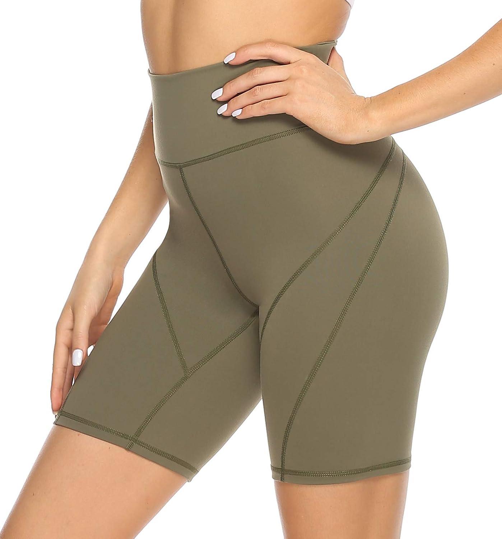 S Radlerhose Blickdicht High Waist Kurze Leggings mit Taschen Dunkel Blau Camo HLTPRO Kurze Sporthose Damen Shorts