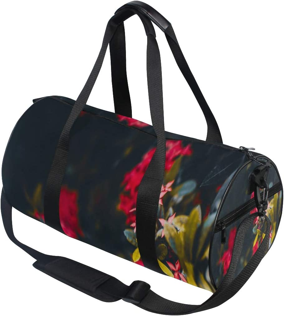 Sports Bag Bright Red Flowers Mens Duffle Luggage Travel Bags Kid Lightweight Gym bag