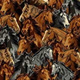 Packed Horse Horses Running Stallion Steed Fleece Fabric Print by the Yard a36459b