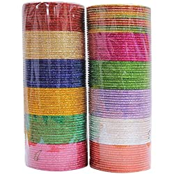MUCHMORE Indian Bollywood Fashion 12 Colors Plain Bangle Box Partywear Ethnic Jewelry (2.1 Inches)