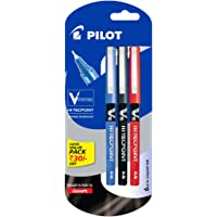 Pilot V5 Liquid Ink Roller Ball Pen - 1Blue + 1Black + 1Red