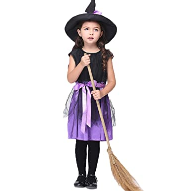 KiwiTwo Girl Child Witch Costume Accessories Fairy Halloween Cosplay Party Fancy Dress Halloween Costume black purple  sc 1 st  Amazon UK & KiwiTwo Girl Child Witch Costume Accessories Fairy Halloween Cosplay ...