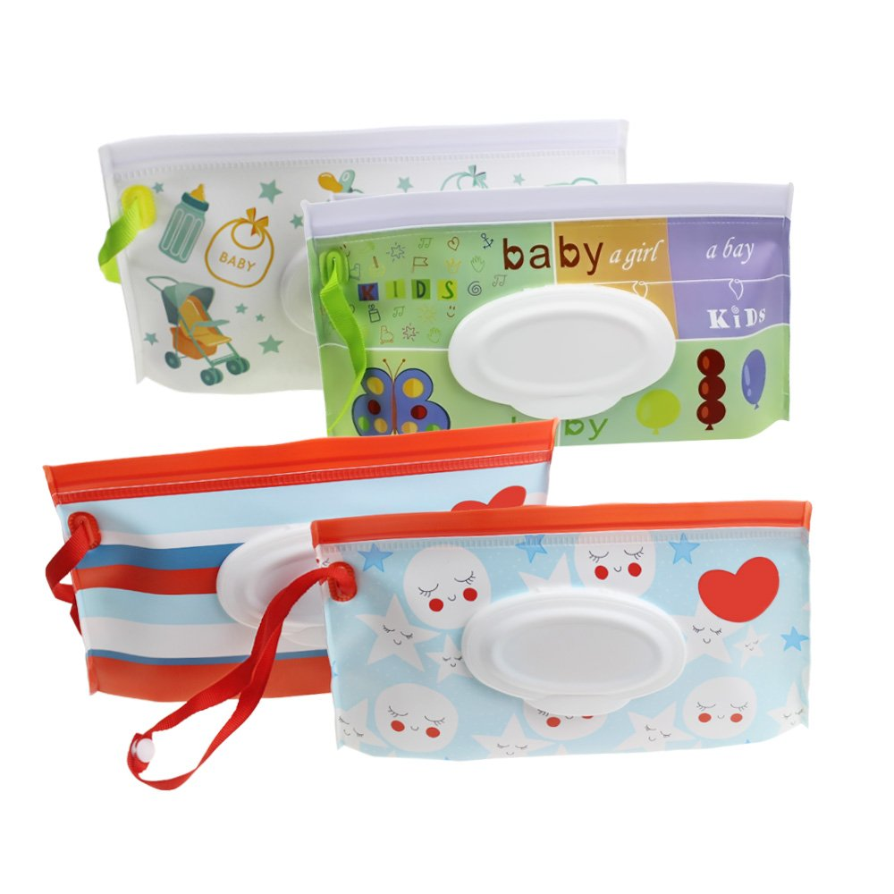 Meetory - Bolsa de viaje reutilizable para bebés con toallitas húmedas y portátil, dispensador de toallitas para bebés o personales, respetuoso con el medio ...