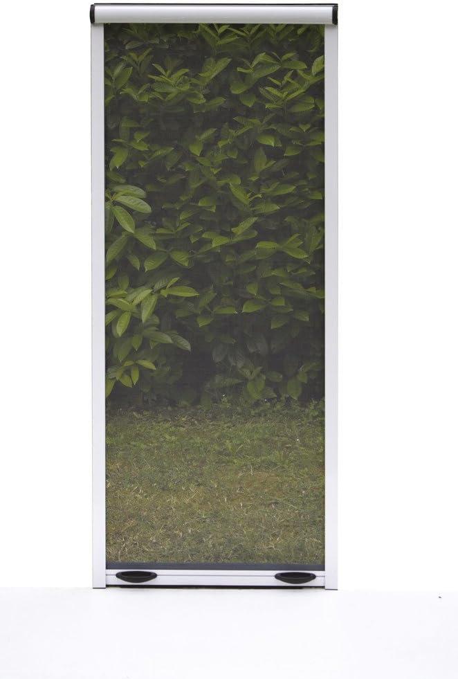 Mosquitera enrollable para ventanas puertas estructura de aluminio, color blanco, marrón, bronce (80 x 170 cm, bronce)