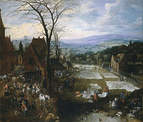 Perfect Effect Canvas ,the Replica Art DecorativePrints On Canvas Of Oil Painting 'Momper Joos De II Brueghel The Elder Jan Mercado Y Lavadero En Flandes Ca. 1620 ', 20 X 24 Inch / 51 X 60 Cm Is Best For Home Theater Decor And Home Artwork And Gifts