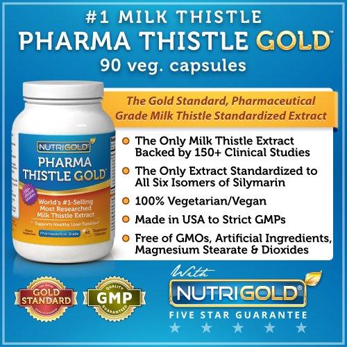 # 1 Extrait de chardon-Marie - Pharma Thistle OR, 90 capsules végétariennes (Pharmaceutical Supplément soutien grade foie) # 1 Detox de foie et de purification