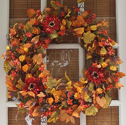 The Wreath Depot Highland Silk Fall Door Wreath, 22 inches, White Gift Box Included