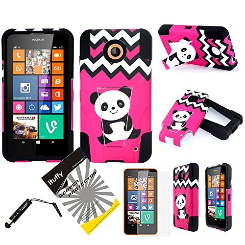 3 items Combo: ITUFFY(TM) LCD Screen Protector Film + Stylus Pen + 2 tone Design Dual Layer KickStand Tuff Impact Armor Hybrid Soft Rubber Silicone Cover Hard Snap On Plastic Case for AT&T, Boost Mobile, Cricket, Sprint, T-Mobile Nokia Lumia 635 630 (4.5