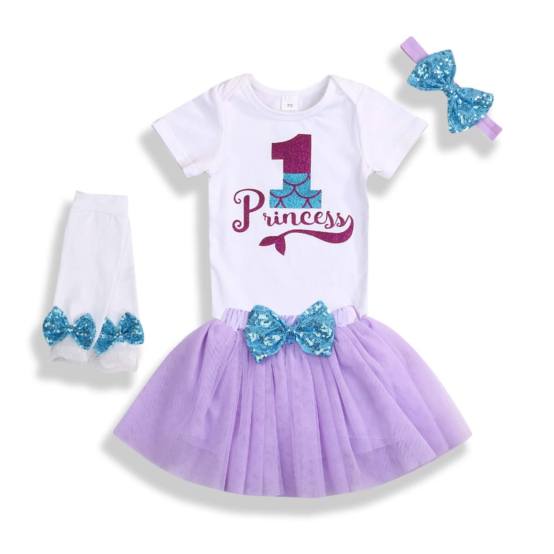 Baby Girls 1st Birthday Mermaid Outfit Ruffle Sleeve Romper Tutu Dress Sequin Bowknot Princess Skirt Sets